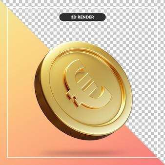 Золотая монета евро 3d визуальный изолированные