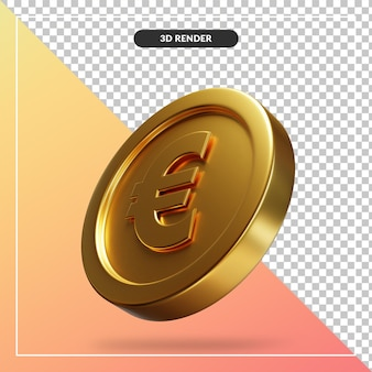 Golden euro coin 3d visual isolated