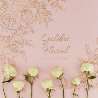 Golden floral background with roses