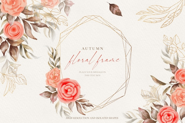 Golden floral frame background with watercolor nature