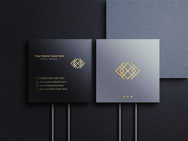 Golden foil logo with square business card mockup and shadow overlary