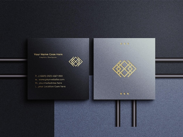 Golden foil logo with square business card mockup and shadow overlay