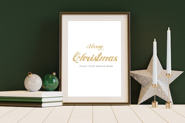 Golden frame with christmas decoration mockup