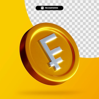 分離された金フランコイン3dレンダリング