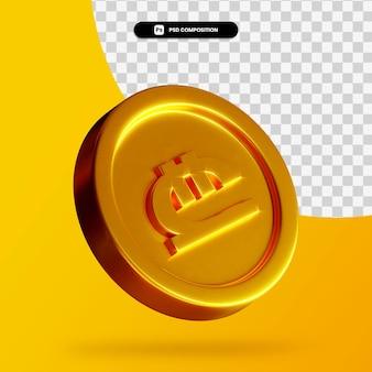 황금 그루지야어 lari 동전 3d 렌더링 절연