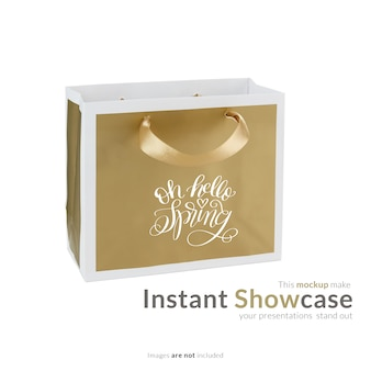 Golden gift bag mock up