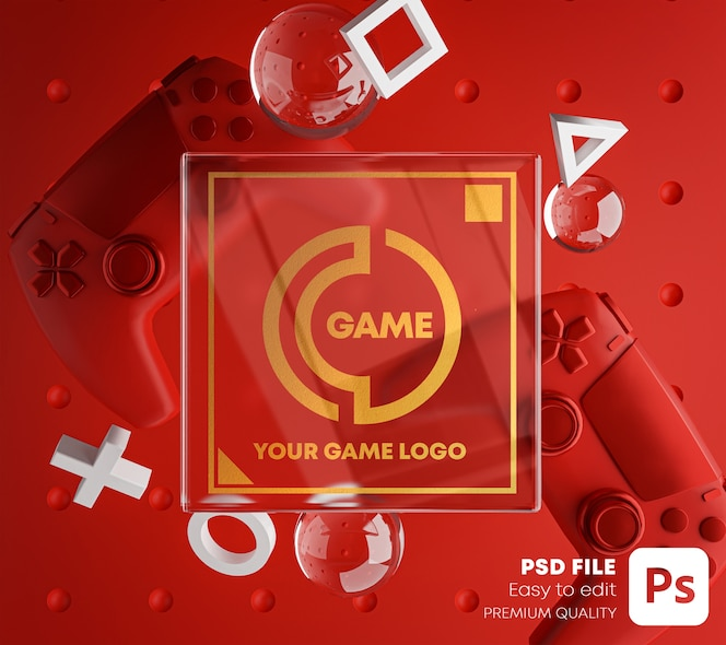 Golden glass logo red mockup per gamepad