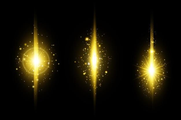 Набор бликов с золотыми светящимися линзами