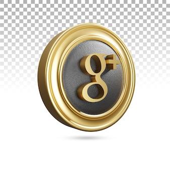 3d 렌더링의 황금 구글 플러스 아이콘