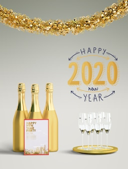 Golden happy new year 2020 concept
