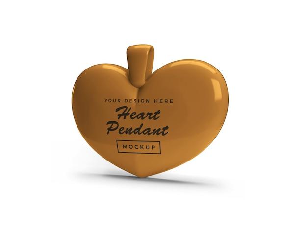 Golden heart pendant mockup design isolated