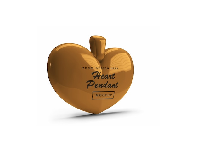 Golden heart pendant mockup design isolated