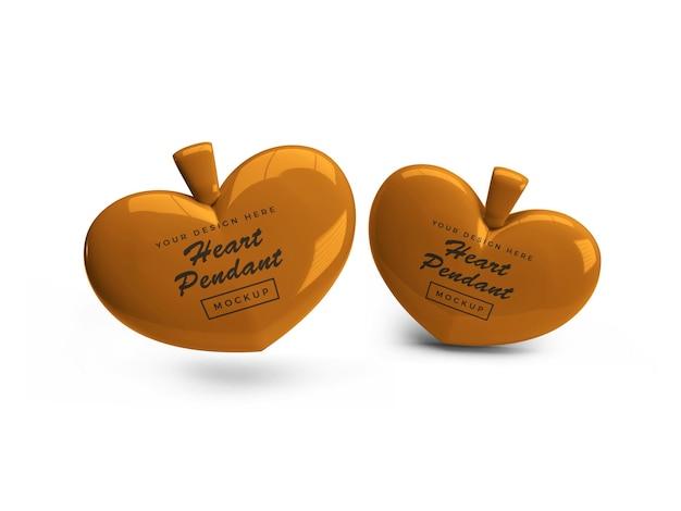 Дизайн мокапа кулона с золотым сердцем