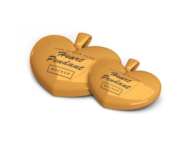Мокап кулона с золотым сердцем