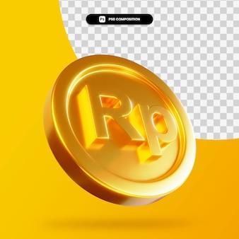 Золотая монета индонезийская рупия 3d-рендеринга изолированные