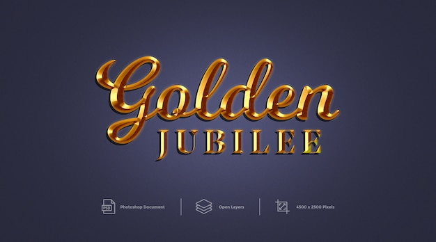 Golden jubilee text effect design photoshop layer style effect