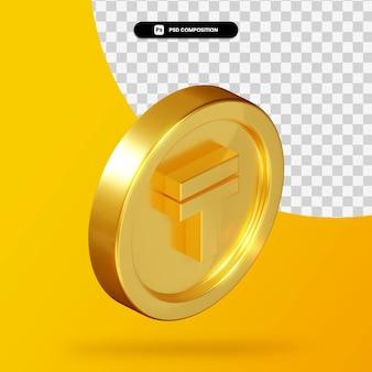 Золотая монета казахстанский тенге 3d рендеринг изолированные
