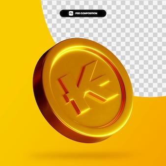 황금 라오스 킵 동전 3d 렌더링 절연