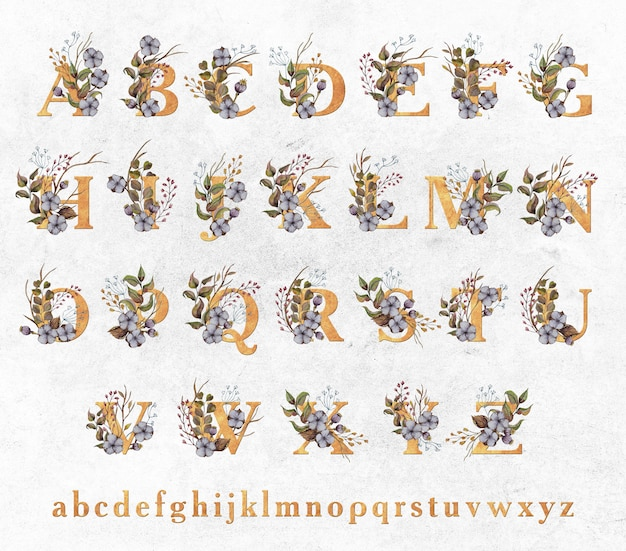 Золотые буквы с акварельными листьями и хлопковыми цветами