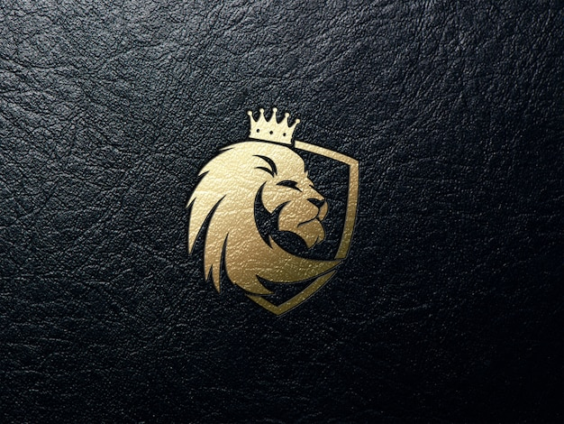 Golden lion logo in leather