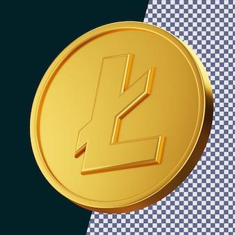 Золотая монета litecoin 3d-рендеринг изолированной концепции с эффектом блестящего золотого материала