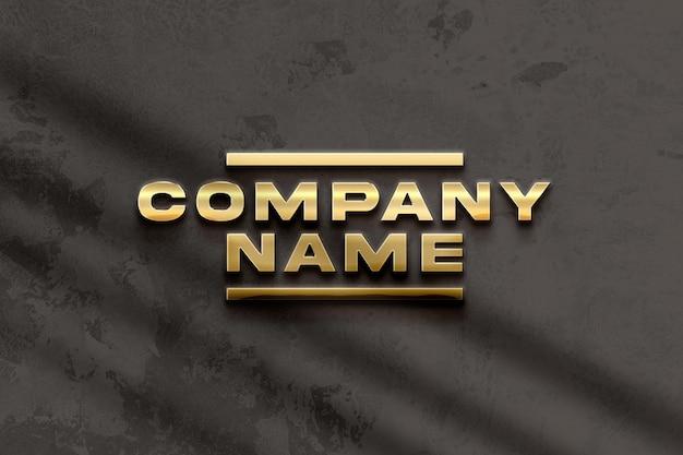 Golden logo mockup on black wall