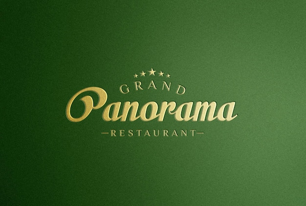 Golden logo mockup on green background
