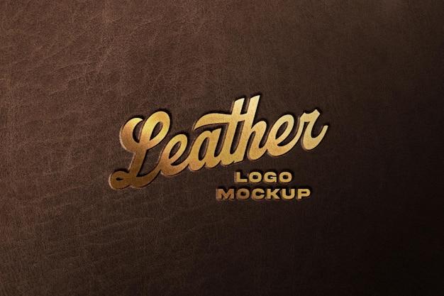 Golden logo mockup on lather surface
