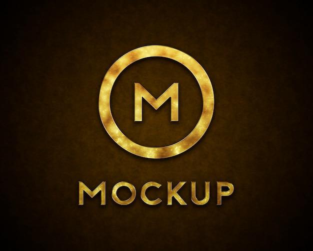 Golden logo mockup with spots