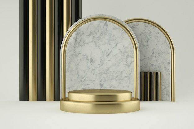 Golden and marble podium for product presentation