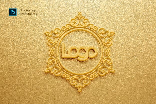 황금 금속 시트 양각 로고 이랑 디자인