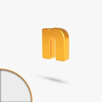 Golden metallic 3d rendering alphabet