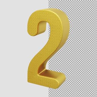 ゴールデンメタリック3dレンダリング番号