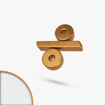 Golden  metallic glossy letter divide 3d rendering