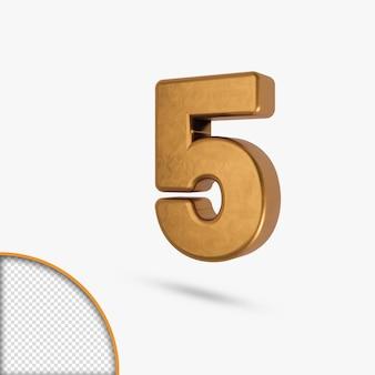 Golden metallic glossy number in 3d rendering