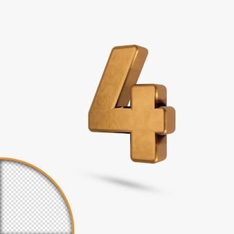 Золотой металлический глянцевый номер в 3d-рендеринге