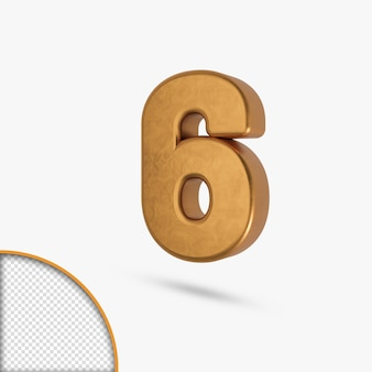 3dレンダリングのゴールデンメタリック光沢のある数字