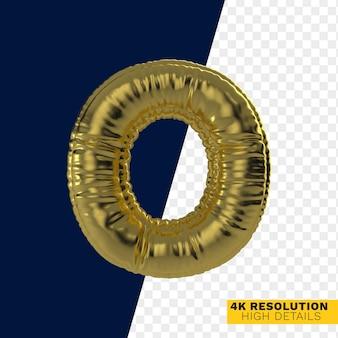Золотой металлический надувной гелиевый шар с буквой o