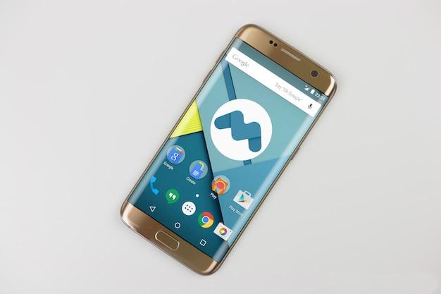 Golden mobile phone mock up