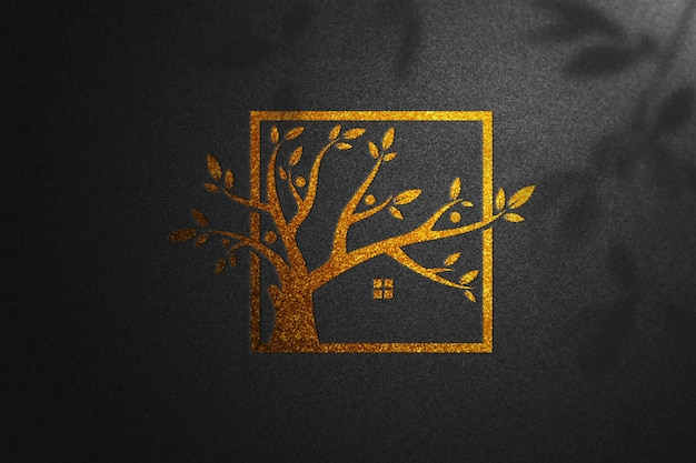 Golden mockup logo black paper