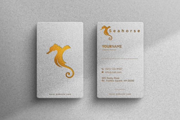 Golden mockup logo on a white business card