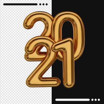 Золотой новый год 2021 в 3d рендеринге