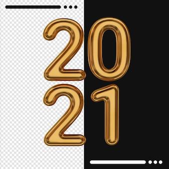 3d 렌더링에서 황금 새해 2021