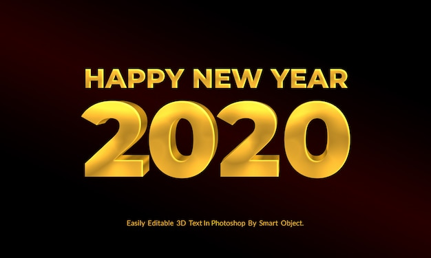 Golden new year 3d text editable style psd