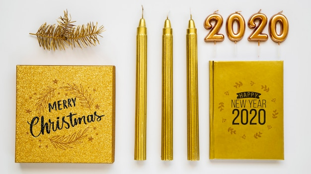 Golden new year party accessories mock-up