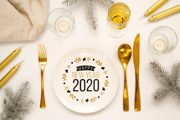 Golden new year party cutlery mock-up
