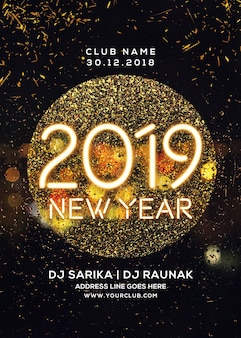 Golden new year party flyer