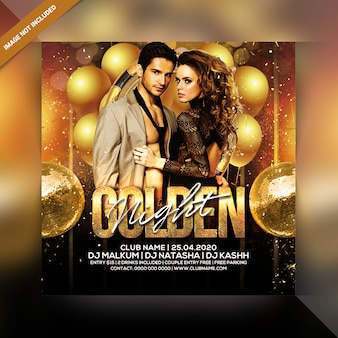 Golden night party flyer or poster template