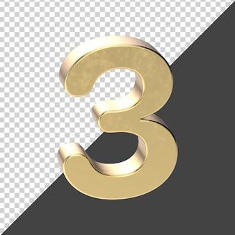 Golden number 3 3d rendering
