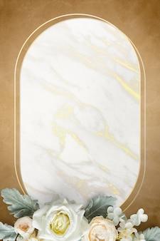 Golden oval floral marble frame